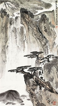 百里水声下山来 立轴 设色纸本 by ya ming