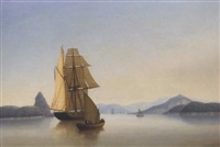 an armed british brig becalmed in the approaches to rio de janeiro, brazil by george atkinson