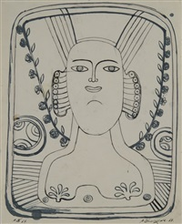 double sided mirror image drawing of the female bust by mihail chemiakin