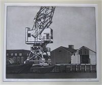 gantry crane (+ chimney; 2 works from thames series vi/vii) by sidney hurwitz