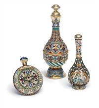 scent flasks (3 works) by antip ivanovich kuzmichev