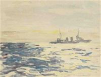 en rade, navire en mer (2 works) by bernard raoul lachevre