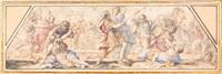 l'enlèvement des sabines et la continence de scipion (pair) by giovanni francesco romanelli