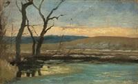 evening by a lake by paul wilhelm tübbecke