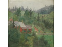 buildings amongst trees and a distant vista (pair) by friedrich könig