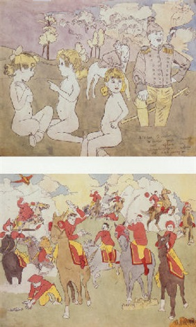 near pandanoar vivian girls cornered and captured by glandelinians while out swimming by henry darger