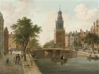 the singel towards the torensluis and the jan roodenpoort, amsterdam by fredericus theodorus renard