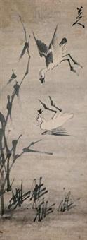 双雁爱竹图 by bada shanren