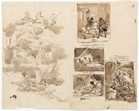 sheet of studies with five compositional sketches by louis-charles-auguste couder