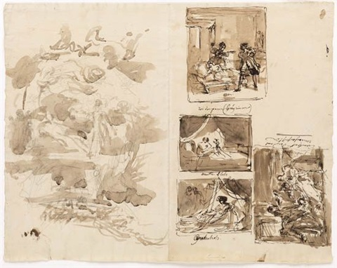 sheet of studies with five compositional sketches by louis charles auguste couder