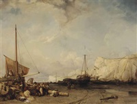 fisherfolk on the banks of normandy by eugène modeste edmond le poitevin