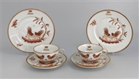 dessert plate (+ 5 others; 6 pieces in cockerel pattern) by ginori porcelain factory (co.)