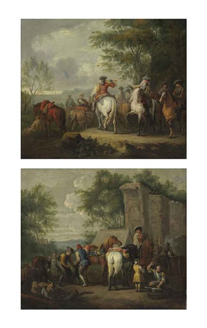 cavaliers setting off on a journey a military blacksmith shoeing horses by a ruin pair by pieter van bloemen