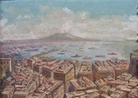 cityscape with harbor and mountains by nicola ascione