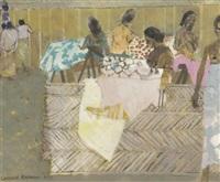 women working on batik cloth, indonesia by leonard rosoman