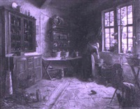 a kitchen interior by andré louis maxime humbert