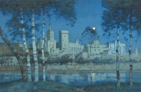 the papal palace avignon by moonlight by a moulton foweraker