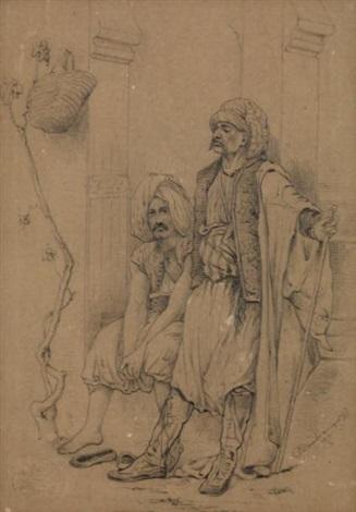 deux turcs adossés à une colonne by gustave clarence rodolphe boulanger