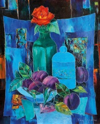 nature morte à la rose rouge by tony agostini