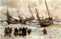 fishing boats and figures on the north atlantic coast by joseph richard bagshaw