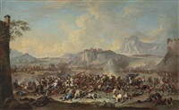 an extensive mountainous landscape with a battle scene by francesco simonini