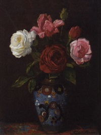 roses in a cloisonné vase by frits maris