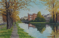 canal at baggot street bridge, autumn by brett mcentaggart