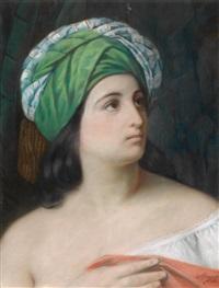 porträt eines mädchens mit orientalischer kopfbedeckung by francesco hayez
