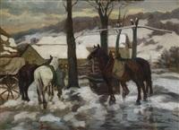 winterliche landschaft mit pferden in der abenddämmerung by jakob koganowsky