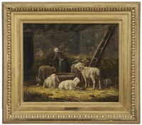 shepherdess and sheep in a barn by charles jacques