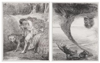 the wolf charmer and the fisherman and the afrite (pair) by john la farge