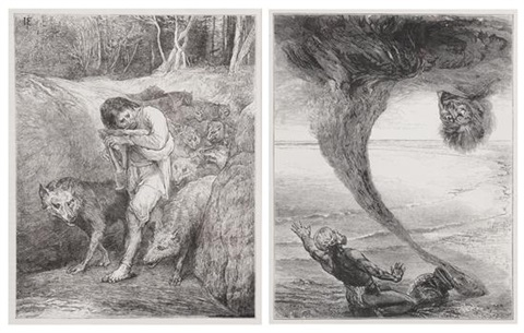 the wolf charmer and the fisherman and the afrite pair by john la farge