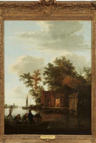 des pêcheurs près de la ferme by johannes dircksz oudenrogge