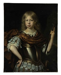 portrait of a boy (willem van liere?) as mars, in classical dress with a cuirass, sword and halberd, in a landscape by pieter nason