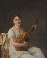 portrait of a lady, seated in an interior, wearing a white dress and playing the guitar by francois-xavier fabre