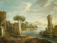 figures on a shore before an italianate river landscape with buildings in the distance and mountains on the horizon by paolo anesi