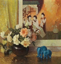 still life of roses, elephant figurines by frederic m. grant