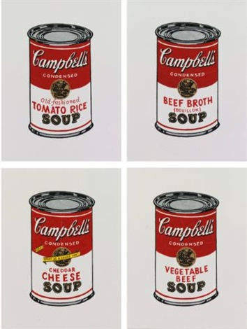 i andy warhol campbells soup can tomato rice ii andy warhol campbells soup can beef broth iii andy warhol campbells soup can cheddar cheese iv andy warhol campbells soup can vegetable beef 4 works by richard pettibone