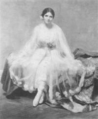 portrait of meta reddick, seated full length in a white   dress with a pearl dress by frederick weber