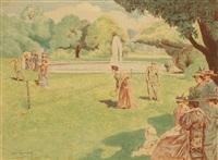 la partie de volant, ou lawn tennis by alexandre lunois
