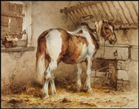a piebald horse in a stable by wouter verschuur the younger