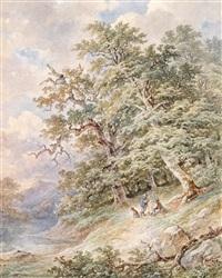 zwei wanderer auf der rast an einem seeufer by josef kriehuber