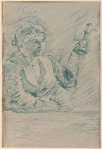 paysanne avec lampe by armand seguin