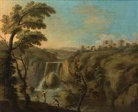 paisaje romano con cascada y pescadores by locatelli