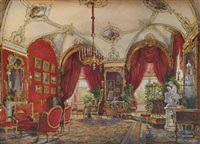 interior of winter palace, st. petersburg; salon of cupid (+ interior of winter palace, st. petersburg; private apartments; 2 works) by eduard hau