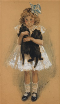 girl with 2 black kittens by charles m. relyea