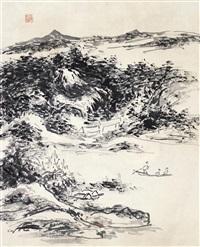 山水 镜片 设色纸本 by huang binhong