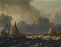 a smalschip closed hauled in a stiff breeze with a flagship offshore to the left and a jetty to the right by aernout (johann arnold) smit