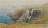 view from home, showing the lifeboat, house on top of the cliff above polpeor by claude montague hart
