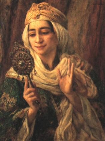 Jeune fille au miroir maroc by louis auguste girardot on for Miroir louis 16